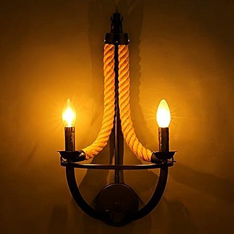 VanMe Loft Vintage Têtes Double Corde De Chanvre Tricoté Main Retro Lampe Murale Applique Murale Allée Lumière Mur Industriel