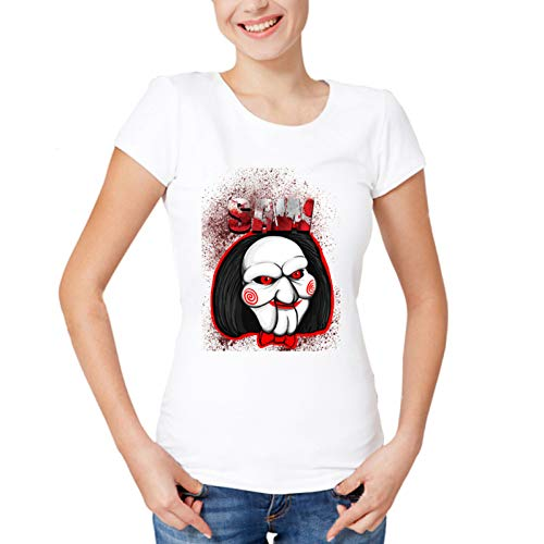 ZCYTIM Horror Saws Film Puppen Halloween Frauen T-Shirt Neue Casual T-Shirt Tops Lustige Sommer Cool T-Shirt