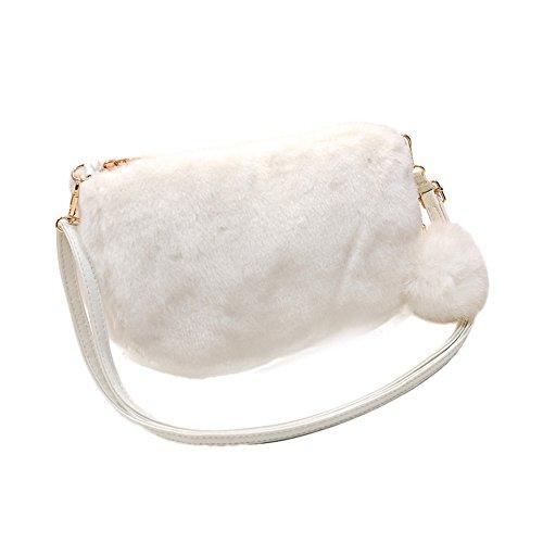 Tifiy Donne Nuovo Arrivo Inverno Peluche Peluche Decorazione Mini Sacchetti Di Spalla Sacchetto Del Telefono Mobile (bianco) Bianco
