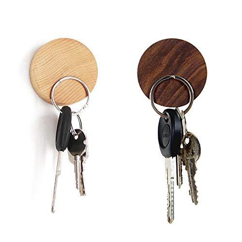 EQLEF Magnet Schlüsselhalter Holz Wand Haken Runde Holz Key Hanger für Schlüssel, Münzen, Karten Lagerung, 2er Pack (Holz Haken Schlüssel)