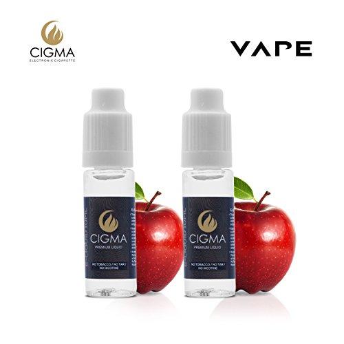 CIGMA 2 X 10ml E Liquid | Apple | Paquete de 2 nuevas fórmulas de calidad  premium con solo ingredientes de alto grado | Hecho para cigarrillo