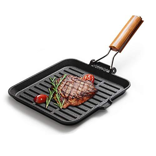 Yjjy padella da cucina, in ghisa per uso domestico ispessimento antiaderente wok non rivestito, fornello a gas induzione universale