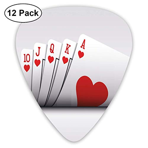Celluloid Guitar Picks - 12 Pack,Abstract Art Colorful Designs,Royal Flush Playing Cards Hearts Betting Bluff Gambling,For Bass Electric & Acoustic Guitars.