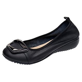 Jamron Damen Echtleder Komfort Schuhe Weich Schuhsohle Ballerinas Niedrige Keilabsatz Slippers Schwarz SN020624 EU39.5
