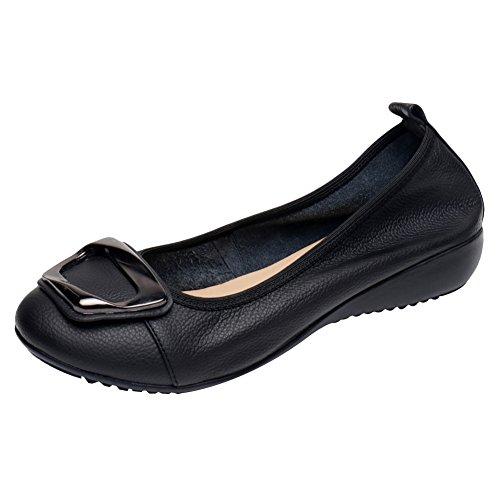Jamron Femmes Cuir Véritable Confortable Chaussure Doux Semelle Ballerines Bas Talon Compensé Slippers Noir SN020624 EU41