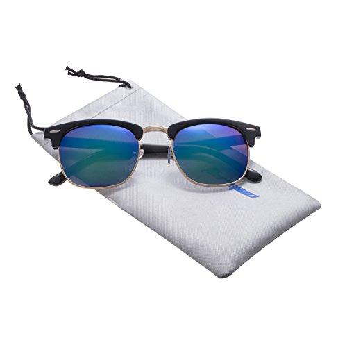 Forepin® Sonnenbrille mit Runden Gläsern mit Federscharnier Vintage Damen Herren