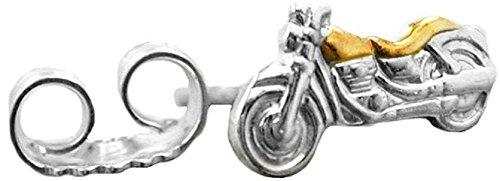 Unbespielt Ohrstecker Motorrad bicolor 1 Stück Unisex 925 Silber 8 x 4 mm inklusive Schmuckbox Ohrschmuck Ohrringe
