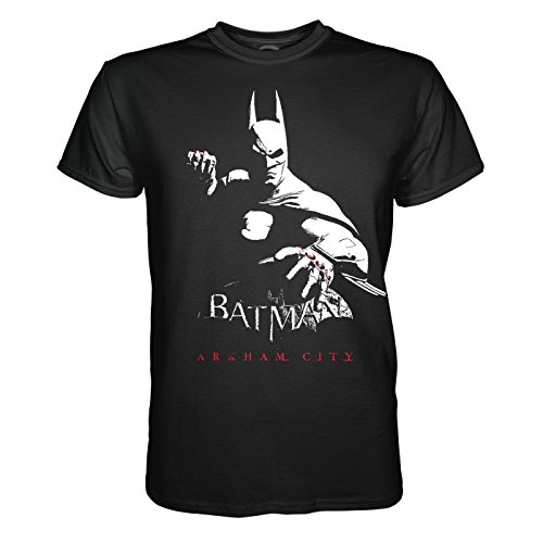 King of Merch - Herren T-Shirt - Batman Arkham City Dark Night Gotham Harley Quinn Superheld Asylum Lex Luthor Riddler Joker Venom Poison Ivy Bruce Wayne Enterprises Harvey Dent Schwarz 2XL