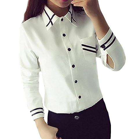Women Fashion Elegant Slim White Stripe Long Sleeve Turn-Down Collar Button Pocket Shirt BlouseTops (XL/UK 12)
