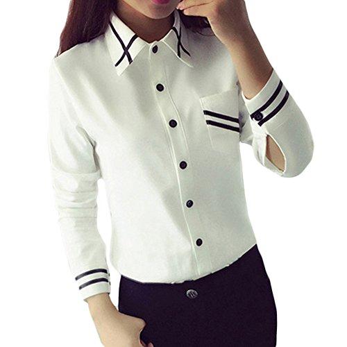 Tidecc Women Long Sleeve Turn-Down Collar Button Pocket Shirt Stripe Work Business Office Blouse Formal Tops