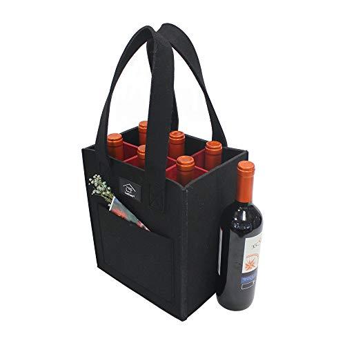 Laxllent Wein Tasche,Flaschenkorb,Flaschentasche,Bier Tasche, Geschenk Tasche für Picknick,Party,Strand Urlaub,Wiederverwendbar,6 Flaschen,Schwaz/Rot -