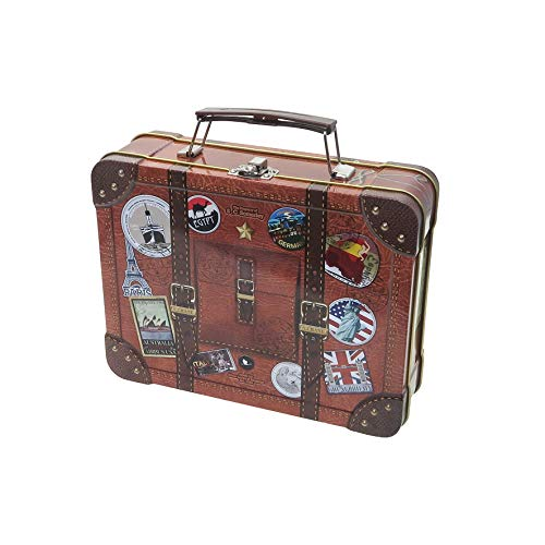 """Reisekoffer \""""Globetrotter\"""" Blechdose, überarbeitetes Design, lebensmittelecht, Koffer mit Griff, Verschluss und bunten Reise-Stickern, Keksdose, Aufbewahrung (L x B x H) 21 cm x 16 cm x 6 cm"""