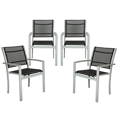 TecTake 800323 Lot de 4 Chaises de Jardin Terrasse Balcon - diverses Couleurs au Choix (Gris | No. 402067)