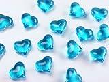 30 Dekosteine Herzen türkis hellblau 2,1 cm Streudeko Tischdekoration Hochzeit Taufe Weihnachten
