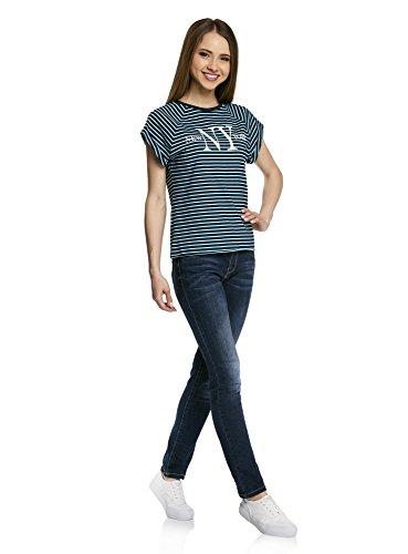oodji Ultra Damen Baumwoll-T-Shirt mit Druck und Unbearbeitetem Saum Blau (7973P)
