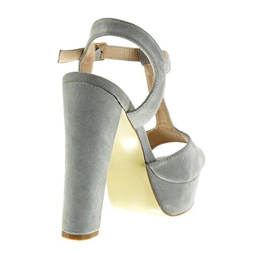 Angkorly Schuhe cm Blockabsatz Heel Plateauschuhe 13 Peep Sandalen Grau Schleife T Spange High Toe Damen CCpqA