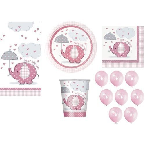 Umbrellaphants PINK FOR GIRL BABY SHOWER PARTY TABLEWARE PACK UMBRELLAPHANTS DESIGN NAPKINS PLATES CUPS TABLECOVER BALLOONS 57 ITEMS