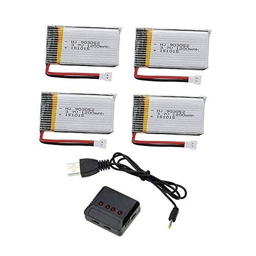 Creation 4pcs 3.7V 1200mAh Lipo Batteries and 4 in 1 charger for Syma X5SW X5SC