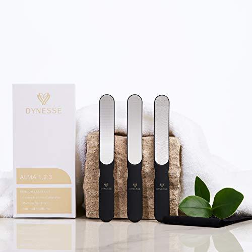 Premium Laser-Nagelfeilen Set von DYNESSE. Nagelpflegeset mit grobe, mittelgrobe und feine Nagelfeile für schonende und angenehme Maniküre und Pediküre für Damen und Herren. 3 teiliges Nagelset.