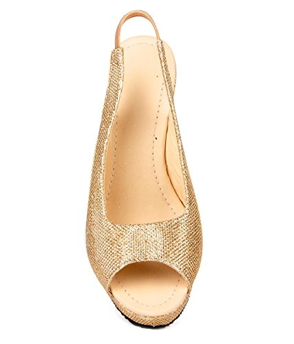 Feel It Women's Gold Fashion Sandal - 36