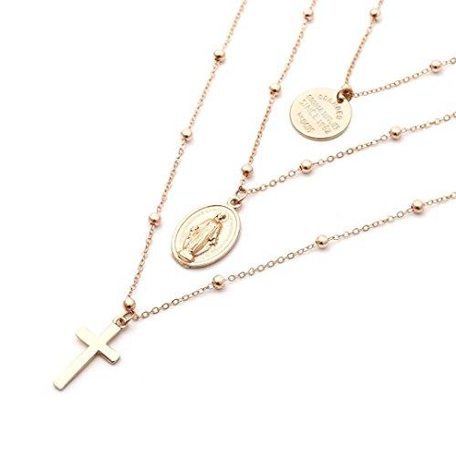 Schmuck,Trada Religiöse Art Multi Kette Halskette Kreuz Jungfrau Maria Anhänger Halskette für Frauen damenschmuck modeschmuck ketten halskette accessoires billiger modeschmuck für frauen (Gold)