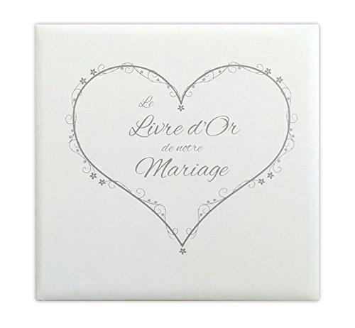 Livre d'or Mariage cœur blanc effet toilé - Fabriqué en France - LDTMBC