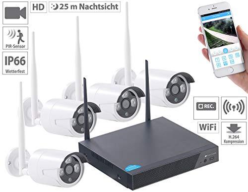 VisorTech Überwachungskamera: Funk-Überwachungssystem, HDD-Rekorder & 4 IP-Kameras, Plug & Play, App (Überwachungs Set)