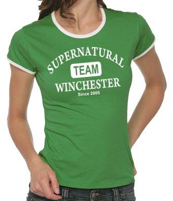 """T-shirt da donna con stampa """"Supernatural Team Winchester"""" [in lingua inglese], taglia S-XL, colori assortiti"""