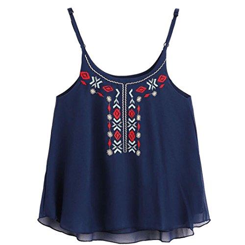 OverDose Damen Lace Chiffon Vest Top Sleeveless Casual Tank Blouse Summer Tops T-Shirt Spitze Weste Sommer Blusen (S, B-Blau5) (Besticktes Kleid T-shirt)