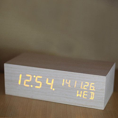 SSBY LED Uhr, Kreative Holz Uhren, Elektronische Leuchtende Thermometer,  Rechteckig, Büro,