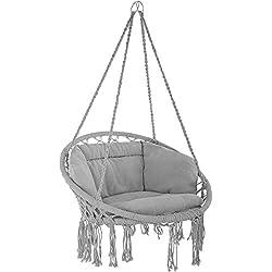 tectake 800708 Fauteuil Suspendu Relax Design de Jardin en Coton, 1 Place, Intérieur et extérieur, Coussins Confortables Inclus - Couleur au Choix - (Gris   no. 403204)