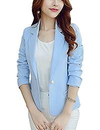 f773191ed1f0 Donna Slim Fit Blazer Tailleur Elegante Corto Business Maniche Lunghe Giacca  Azzurro XS
