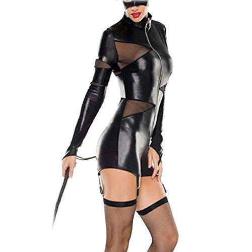 SSScok Damen PU Leder Sexy Dessous Minidress Erotik Clubwear Nachtwäsche