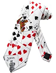 Sock Snob - Cravate Couleur Blanc Motif Jeu Cartes Poker Casino Taille Unique Adulte (White Poker tie)