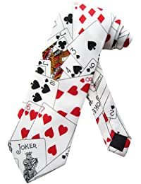 Sock Snob - Cravate Couleur Blanc Motif Jeu Cartes Poker Casino Taille Unique Adulte (White Poker tie)
