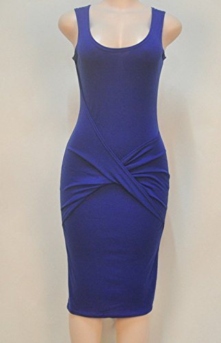 Damen Sommer Weste Kleid Ärmellos V-Ausschnitt Normallacks Miniskirt Etuikleid Pakethüfterock Kleid Blau