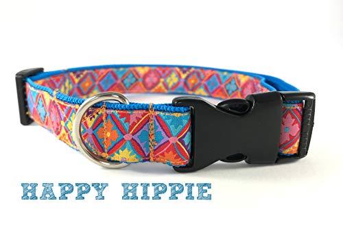 Hundehalsband Halsband Hund Hippie Muster geometrisch Hippiehalsband Bunt Stoffhalsband HAPPY HIPPIE verschiedene Größen (S,M,L,XL) by Easy and Cooper -