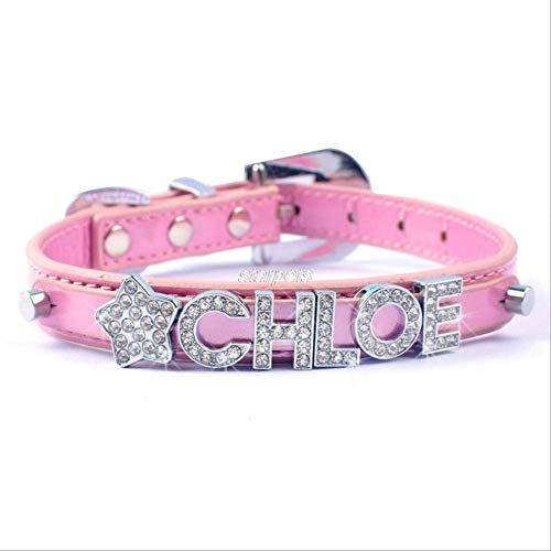 UDstrap Strass Diamond Buckle Personalized Pet Dog Collar Free Name& Charm XS S M L m Rosa