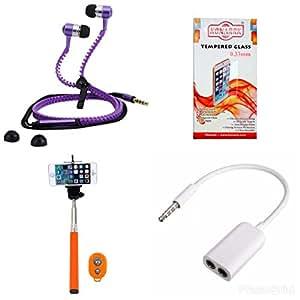 KONARRK 4 in 1 Combo of Selfie Stick Orange, Zipper Earphones Purple, Handsfree Splitter White and Tempered Glass for MICROMAX Q345