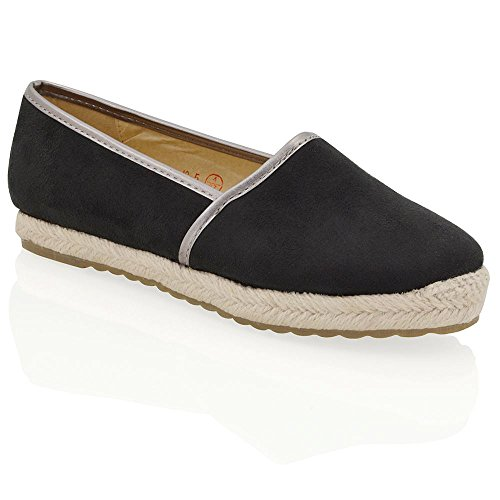 ESSEX GLAM New Womens Flat Espadrilles Pumps Ladies Holiday Casual Comfort Shoes Size