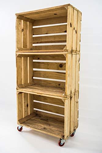 Estantería con 3 Cajas de Madera Natural Tipo Fruta Vertical con Ruedas Rojas Sam, Cajas Naturales, Beige, 50x32x110CM. Incluye Imán Personalizable de Madera.