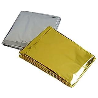 Ayouyou 10 Stück Gold-Silber Outdoor Rettungsdecke, Sonnenschutz Decke, Kaltbeweis Blanket In freier Wildbahn für Camping Wüste Explorations EINWEG Verpackung
