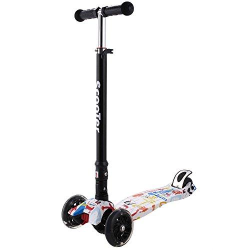 WeSkate Kinderroller Kinder Scooter für Junge und Mädchen 3-14 Jahre alt mit blinkende PU-Räder Aluminiumlegierung Höhenverstellbar Klappbar Faltbare
