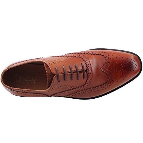 Unze Mens ' Johanis ' allacciate Dress scarpe di cuoio Marrone