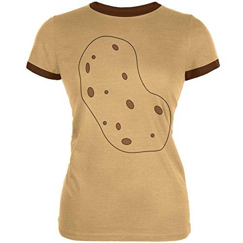 ch Bin eine Kartoffel Kostüm Junioren Weichen Ringer T Shirt Hellbraun Braun SM (Kartoffel-halloween-kostüm)
