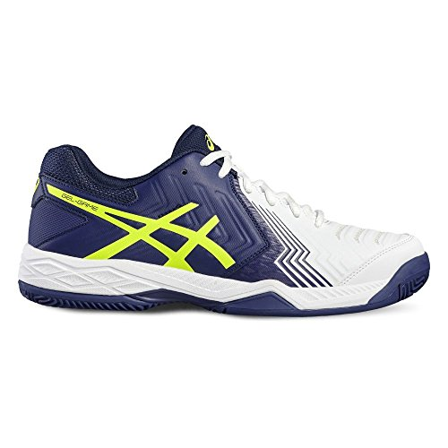 Asics Gel-Game 6 Clay, Chaussures de Tennis Homme Multicolore (White/Indigo Blue/Safety Yellow)