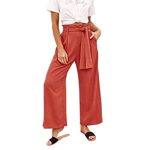 SANFASHION Pantalons Pantalon de Yoga Spandex Doux Femmes, Grande Taille Couleur Unie Casual Sarouel en Vrac Pantalon Aladdin Bohème Orange Bow, S