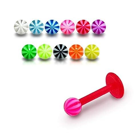 Bijou Piercing Labret pour lèvres 16Gx1/4 (1.2x6MM) Bioflex avec Boule UV balle de plage 3MM Lot de 10 pièces couleurs assorties