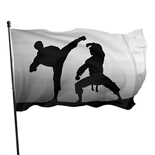 LZHANDA Garten Flaggen Viplili Flagge Fahne, Garden Flag Karate Silhouette Outdoor Yard Flag Wall Lawn Banner Home Flag Decoration 3' X 5'