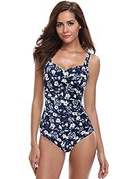 baf211937efc0f SHEKINI Damen Einteilige Blumen Einfarbig Badeanzug Monokini Verstellbarer  Oder Nicht Verstellbarer Schultergurt Badeanzüge Falten Bademode  Schwimmanzug